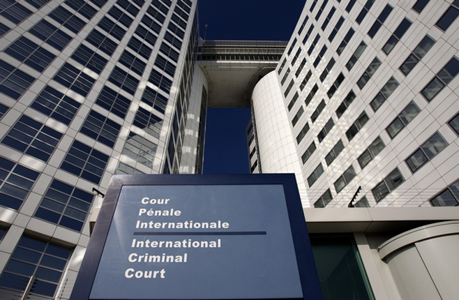 The entrance of the ICC is seen in The Hague