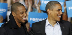 Jay-Z, left to right, President Barack Obama and Bruce Springsteen smile during a campaign event at Nationwide Arena Monday, Nov. 5, 2012, in Columbus, Ohio. (AP Photo/Tony Dejak)