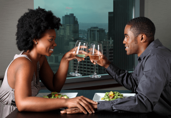 A black couple on a date