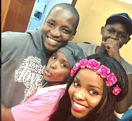Awinja sharing a happy moment with her brother and friends