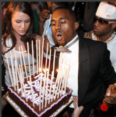 Rapper Kanye West as he blows candles during his birthday as he turned 41 party