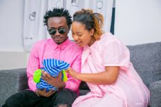 Bahati and Diana Marua looking at their son