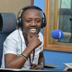 Maina Kageni in the studio