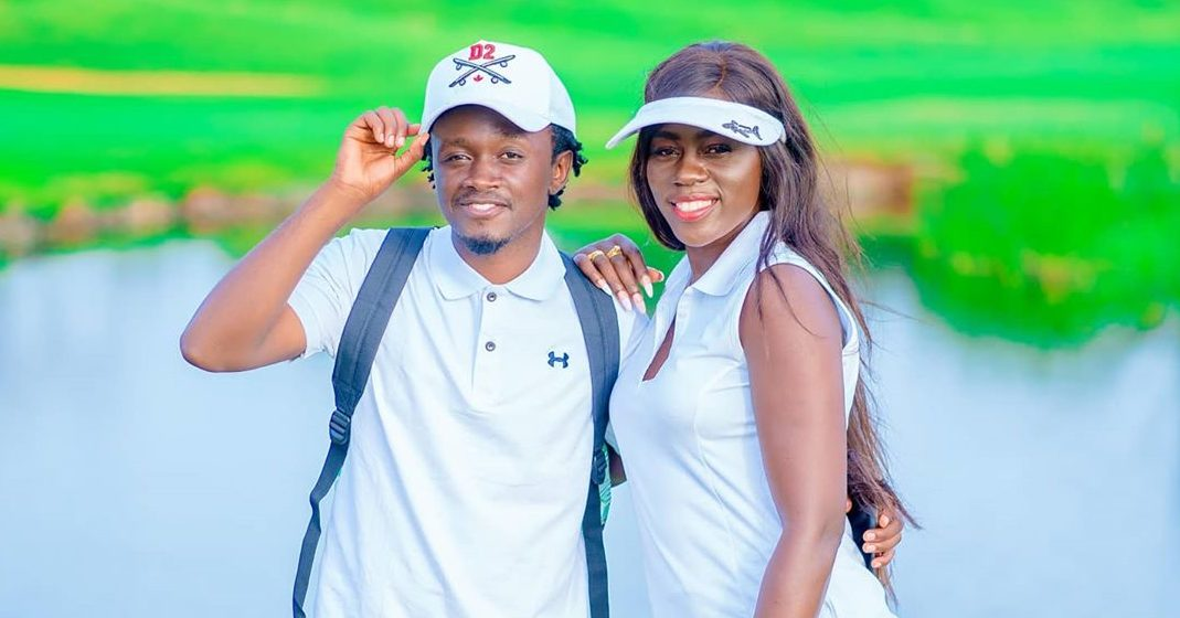 Akothee with Bahati on a golf course