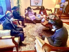 Raila Odinga and his wife Ida condole with the Karanjas after losing daughter Tecra