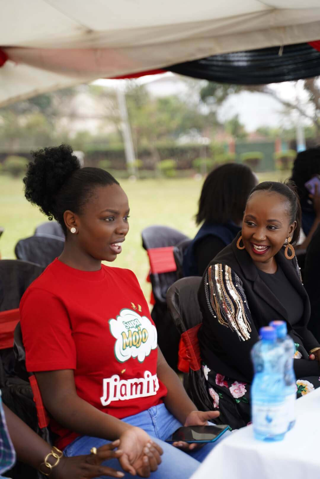 Actress Yasmeen Saiedi together with Kibra's Mp wife Anne Okoth during the CRS held on Saturday in Kibra(1)
