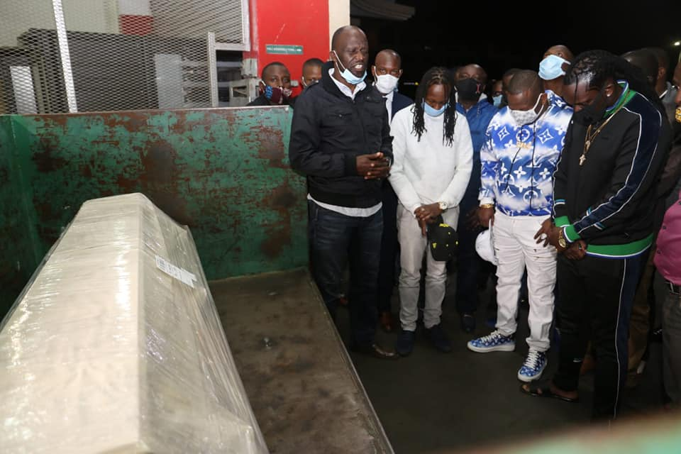 The body of Kevin Oliech arriving