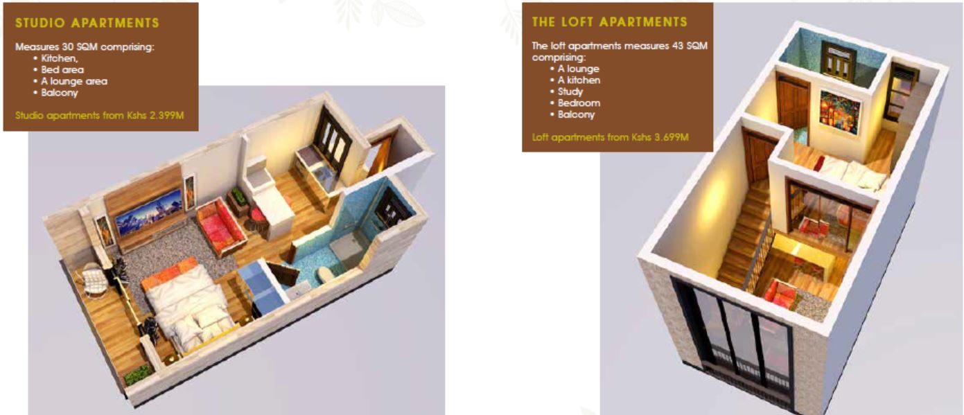 Floor plan for the studio and loft apartments
