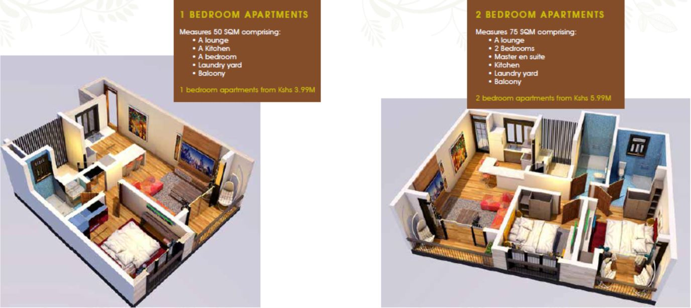 Floor plan of the 1 bedroom and 2 bedroom apartments