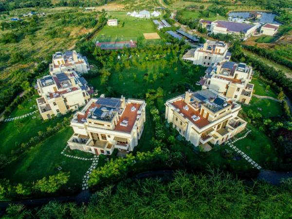 Overlook of Maiyan villas showcasing the layout and solar power used for water heating at the buildings