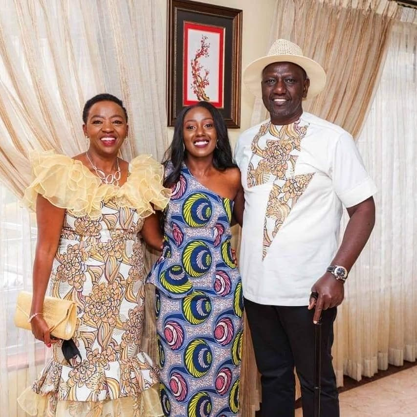 William Ruto with his daughter at her engagement party